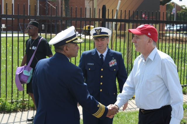 Phil shakes hands with the commander of the new US Coast Guard Headquarters at St. Elizabeths.