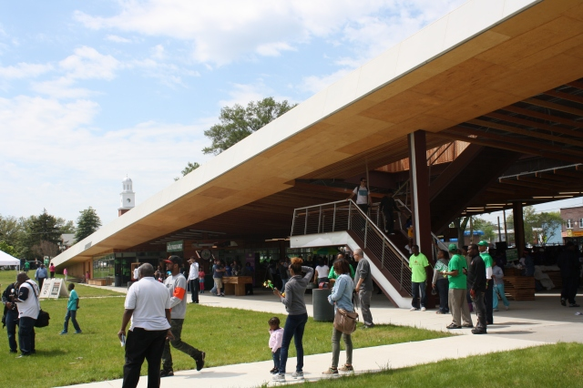 The new G8Way Pavilion at St. Elizabeths, crowded with revelers for Congress Heights Day