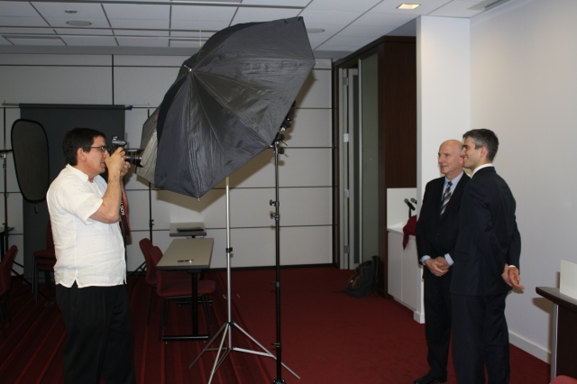 Phil and V. David Zevnyach having their picture taken for the DC Bar, as we profiled back in May.