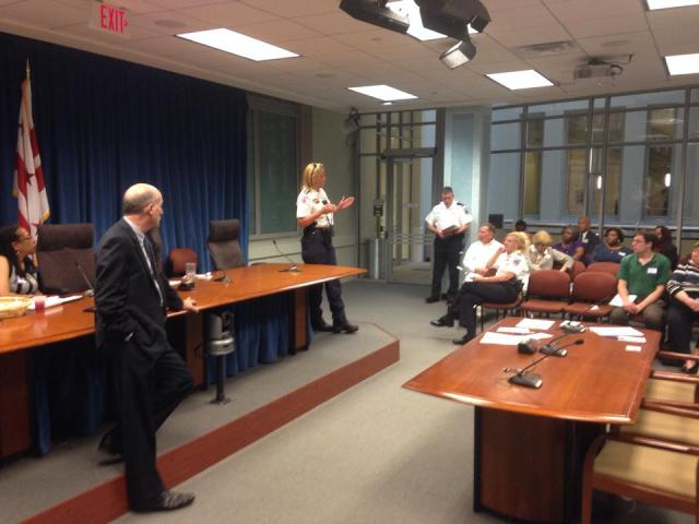 MPD Chief Lanier discussing public safety with ANC commissioners.
