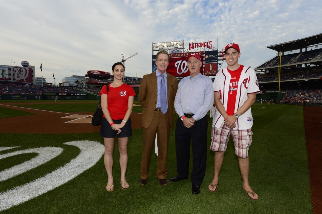 Phil and staff pose with Gregory McCarthy of the Washington Nationals Government Affairs before Tuesday's game.  (Photo by Patrick McDermott for the Washington Nationals Baseball Club)