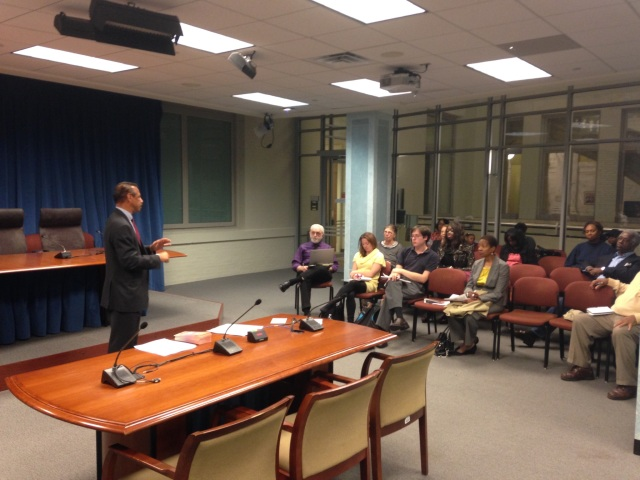 "DPW Director Howland delivers his ""Trick or Treat; Rake Your Leaves"" message to ANC commissioners Thursday night."