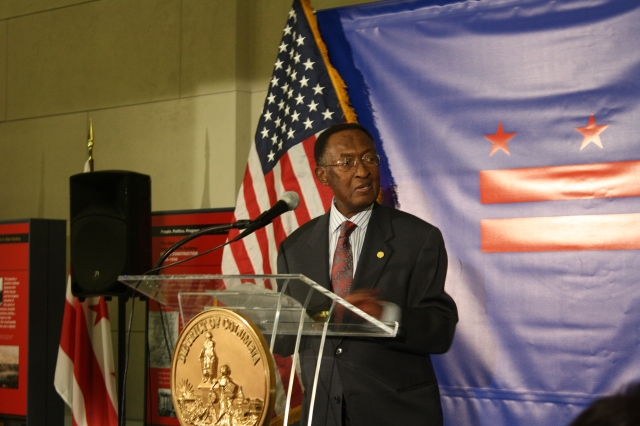 Sterling Tucker, the first Chairman of the Council of the District of Columbia and the MC of the night, speaks at the home rule celebration.