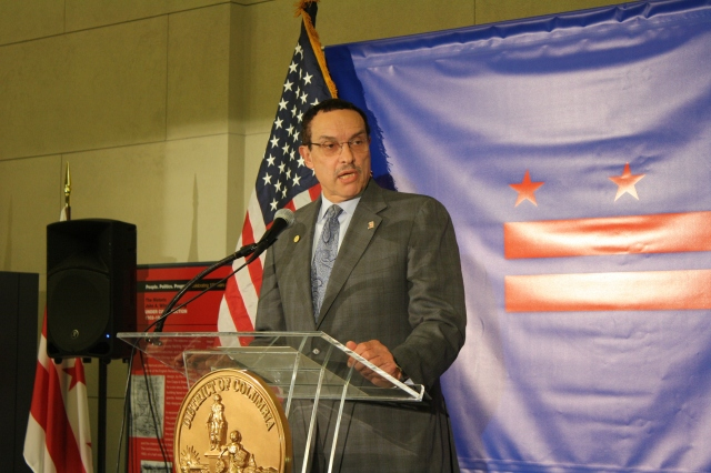 Mayor Gray gives remarks during the District Home Rule 40th anniversary celebration.
