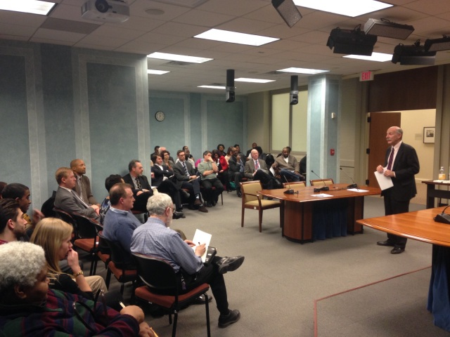 Phil entertaining a packed house of commissioners last night.